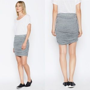 Joie Anisia Ruched Side Gray Jersey Knit Skirt NWT